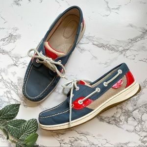 SPERRY Bluefish Mesh Navy Red Boat Shoes Women 7.5